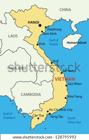 Socialist Republic of Vietnam - vector map - stock vector