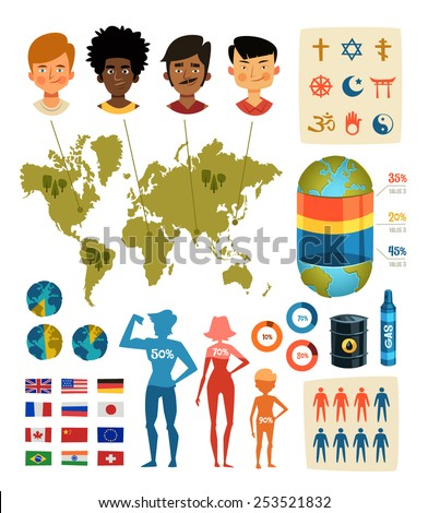Society and Geopolitics. Infographic elements. Vector illustration. - stock vector