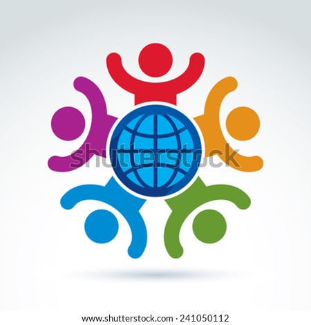 Society happy and joyful and organizations taking care about the world, global peace wealth and ecology theme icon, vector conceptual stylish symbol for your design. - stock vector