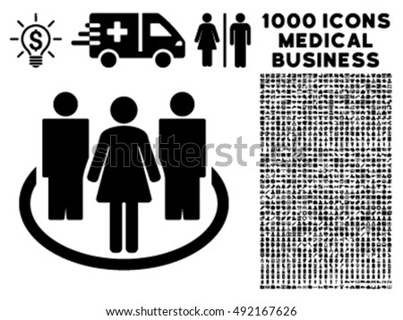 Society icon with 1000 medical business black vector design elements. Design style is flat symbols, white background.