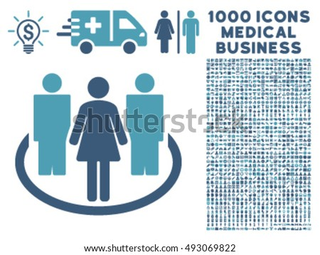Society icon with 1000 medical business cyan and blue vector pictographs. Collection style is flat bicolor symbols, white background.