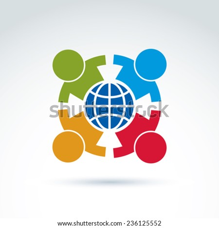 Society taking care about ecology and earth, vector conceptual unusual symbol for your design. - stock vector