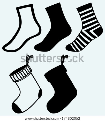 Socks and hristmas stocking. Image isolated on blue background - stock vector
