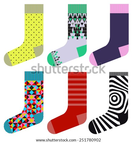 Socks design set, colorful collection - stock vector