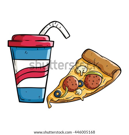 Soda cup pizza slice doodle style 446005168 for Pizza in a mug without baking soda