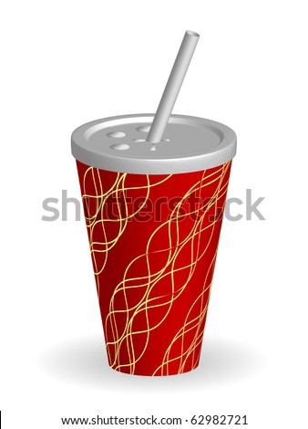 Soda cup with straw - vector - stock vector