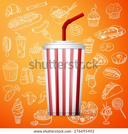 soda fountain drink and hand draw fast food icon, excellent vector illustration, EPS 10 - stock vector