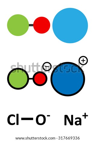 Sodium hypochlorite (NaOCl) molecule. Aqueous solution is known as (liquid) bleach. Stylized 2D renderings and conventional skeletal formula.  - stock vector