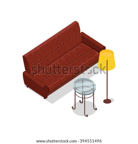 Sofa and lamp isometric design. Furniture isometric, interior brown sofa and lamp, room living furniture, house furniture, 3d domestic furniture and detail model vector illustration - stock vector