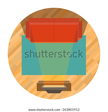 sofa and tv top view - influence of television - stock vector