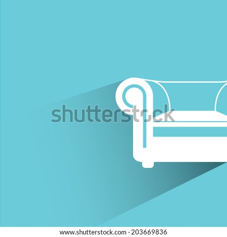 sofa, blue background, flat and shadow theme - stock vector