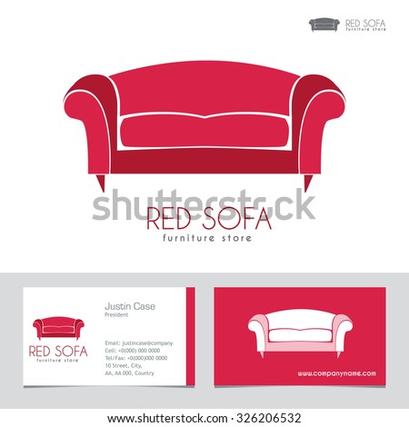 Sofa Business sign & Business card vector template for furniture store, home decor boutique, furniture design or manufacturer. Couch silhouette icon. Corporate web site element. Layered editable  - stock vector
