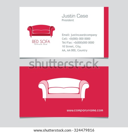 Sofa Business sign vector template for furniture store, home decor boutique, furniture design. Couch silhouette icon. Corporate identity & web site element. Layered editable design - stock vector