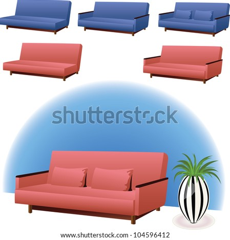 sofa clipart interior design in pink or blue colors