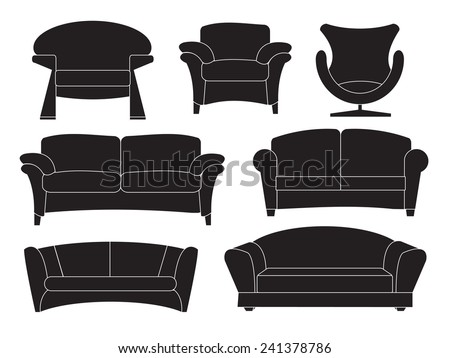 Sofa collection isolated - stock vector