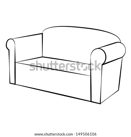 Couch Drawing vector illustration sofa color background stock vector 261306380