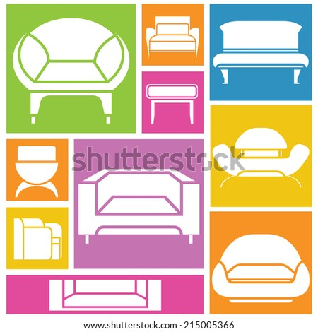 Realistic bed illustration top front side stock vector for Colorful concepts interior design