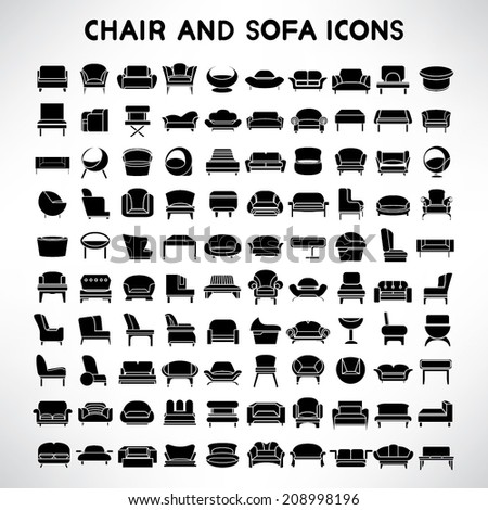 sofa icons set, chair icons set, furniture and interior design collection - stock vector