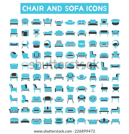 sofa icons set, chair icons set, interior furniture design icons, blue color theme - stock vector