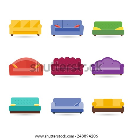 Sofa icons set. Furniture for living room. - stock vector