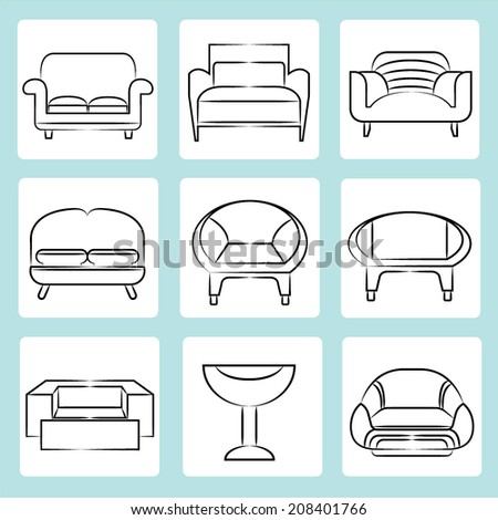 Set silhouettes sofas on light background stock vector for Sofa design sketch