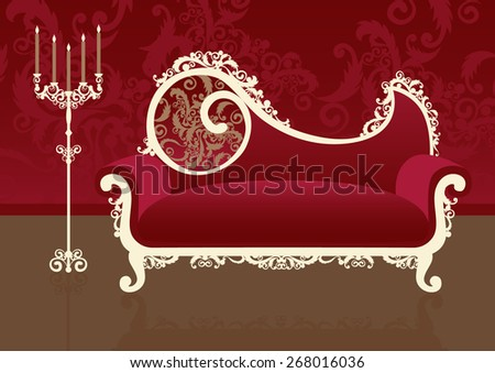 Sofa in an interior. Vector  illustration
