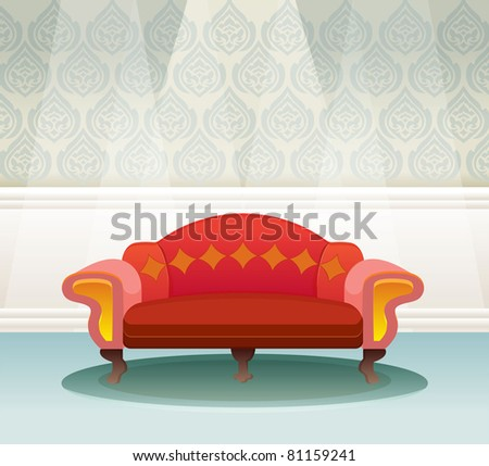 Sofa in  living room . Thai retro styled interior with sofa . Vector Illustration. - stock vector