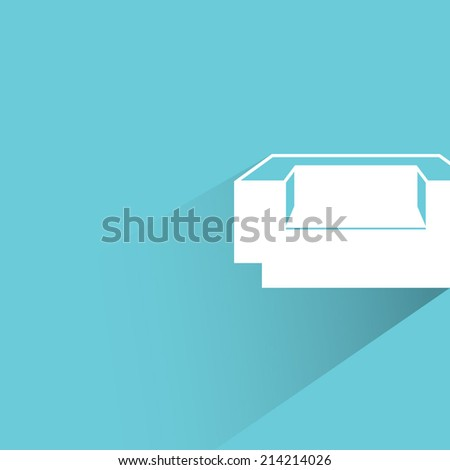 sofa on blue background - stock vector
