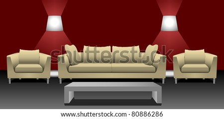 Sofa set with table and wall lamps eps10 - stock vector