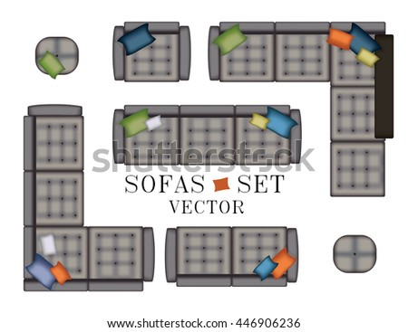 Sofa Top View. Sofas and Armchair Set. Realistic Illustration. Modern Luxury Living Room. Furniture for Your Interior Design. Scene Creator. Bench and Poufs. Isolated Grey Sofas with Stitching - stock vector