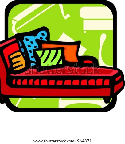 Sofa with pillows.Pantone colors.Vector illustration