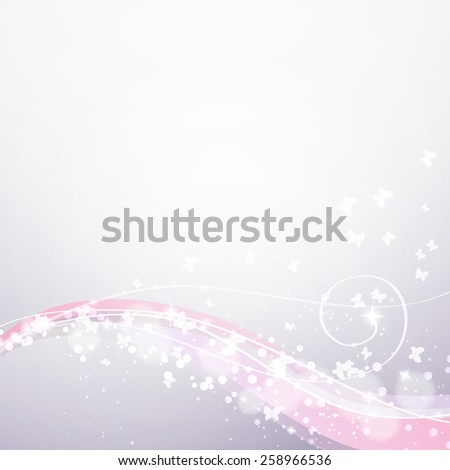 soft background with waves,lights and butterflies  - stock vector