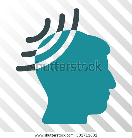 Soft Blue Radio Reception Head toolbar pictogram. Vector pictogram style is a flat bicolor symbol on diagonal hatch transparent background.