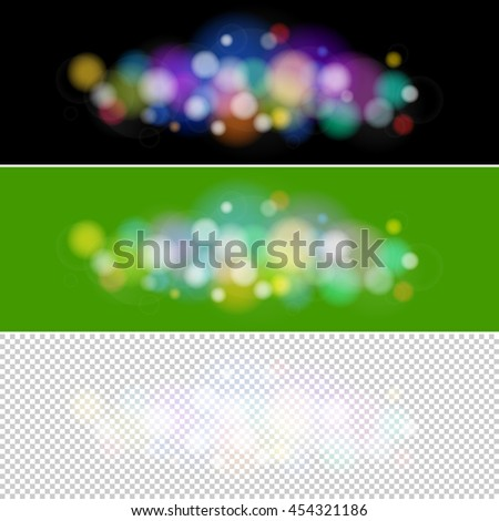 Soft Bright Abstract Bokeh Background ,Bright Colored Lights on Different Backgrounds, Defocused Lights, Lights Isolated, Vector Illustration  - stock vector