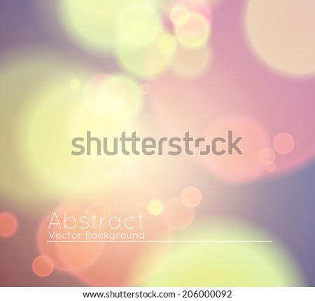 Soft Colored Abstract Background with Bokeh for Party, pastel yellow, pink violet colors - stock vector