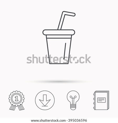 Soft drink icon. Soda sign. Download arrow, lamp, learn book and award medal icons.