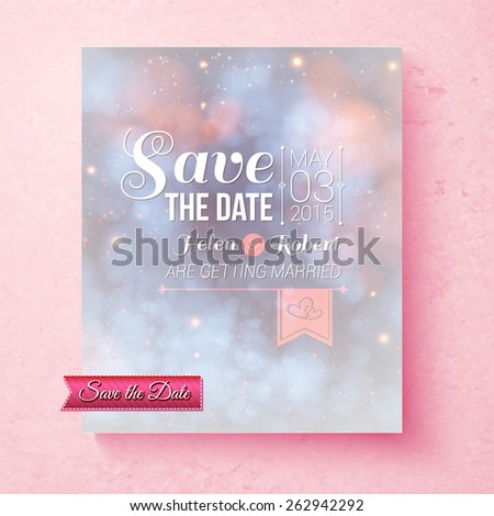 Soft ethereal Save The Date wedding invitation template with a subtle blend of pastel blue and pink and ornate white text over a pink speckled textured background, vector illustration - stock vector