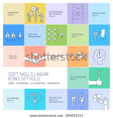 Soft skills linear vector icons and pictograms set of human skills in business and teamwork on colorful background