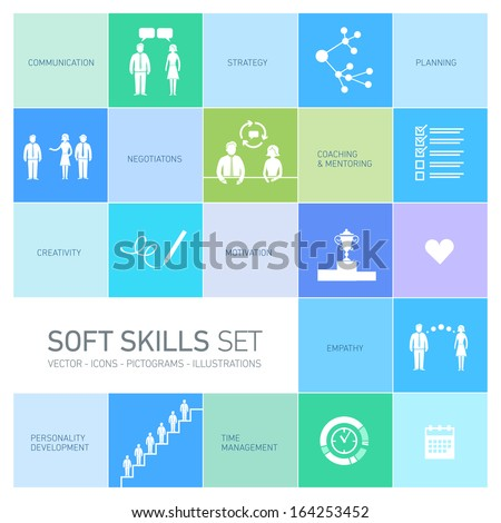 Soft skills vector icons and pictograms set black on colorfulf background - stock vector
