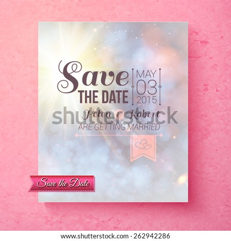 Soft spiritual Save The Date wedding template with a blended pastel background over a pink texture with faded effect typescript, vector illustration - stock vector