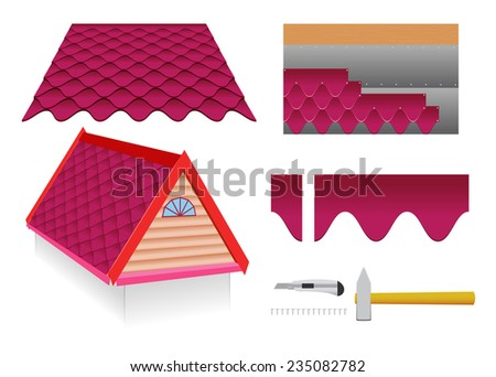 Soft tile roof and construction tools on a white background. - stock vector