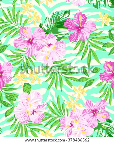 soft tropical print on aqua zebra stripe ~ seamless print - stock vector