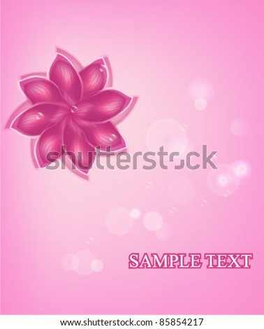 Soft vector background with semi-transparent flower and air bubbles - stock vector