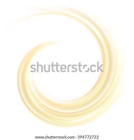 Soft wonderful light ecru color eddy flow aqua luxury beige modern fond of rippled surface. Closeup view with space for text in glowing center. Sweet yummy tasty volute melted fatty milky choco butter - stock vector