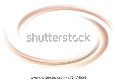 Soft wonderful mixed light khaki color curvy eddy ripple fond. Sweet yummy ecru volute fluid smooth choco cremy sauce surface with space for text in glowing milky white center in middle of funnel - stock vector