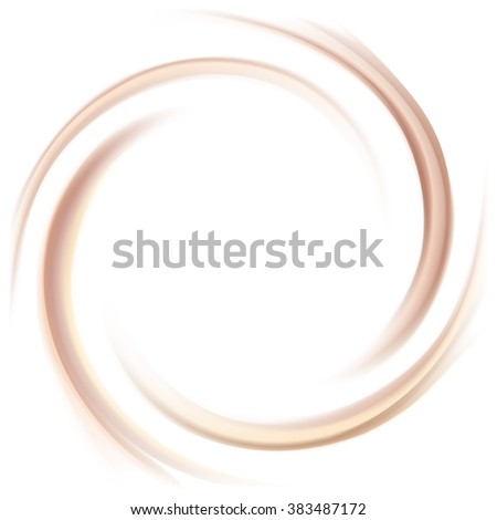 Soft wonderful mixed light khaki color curvy eddy ripple luxury fond. Sweet yummy ecru volute fluid smooth choco sauce surface with space for text in glowing milky white center in middle of funnel - stock vector