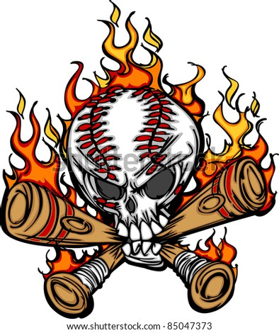 Softball Baseball Skull and Bats Flaming Cartoon Image - stock vector