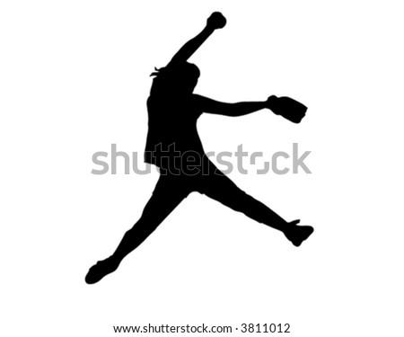 softball fastpitch - stock vector