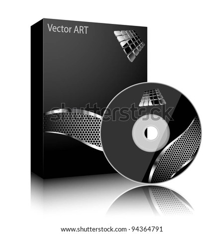 Software black box and disc isolated on white background. Vector.