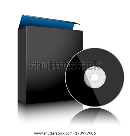 Software Black Box and Disc on white background. Vector. Illustration.